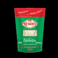 Сир кисломолочний ПРЕЗИДЕНТ 9% Творожна Традиція 1кг
